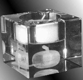 3D-Laser Giveaway Curlingstein Teelicht