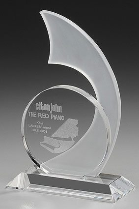 3D-Laser Kristallglasaward Glastrophy Lasergravur