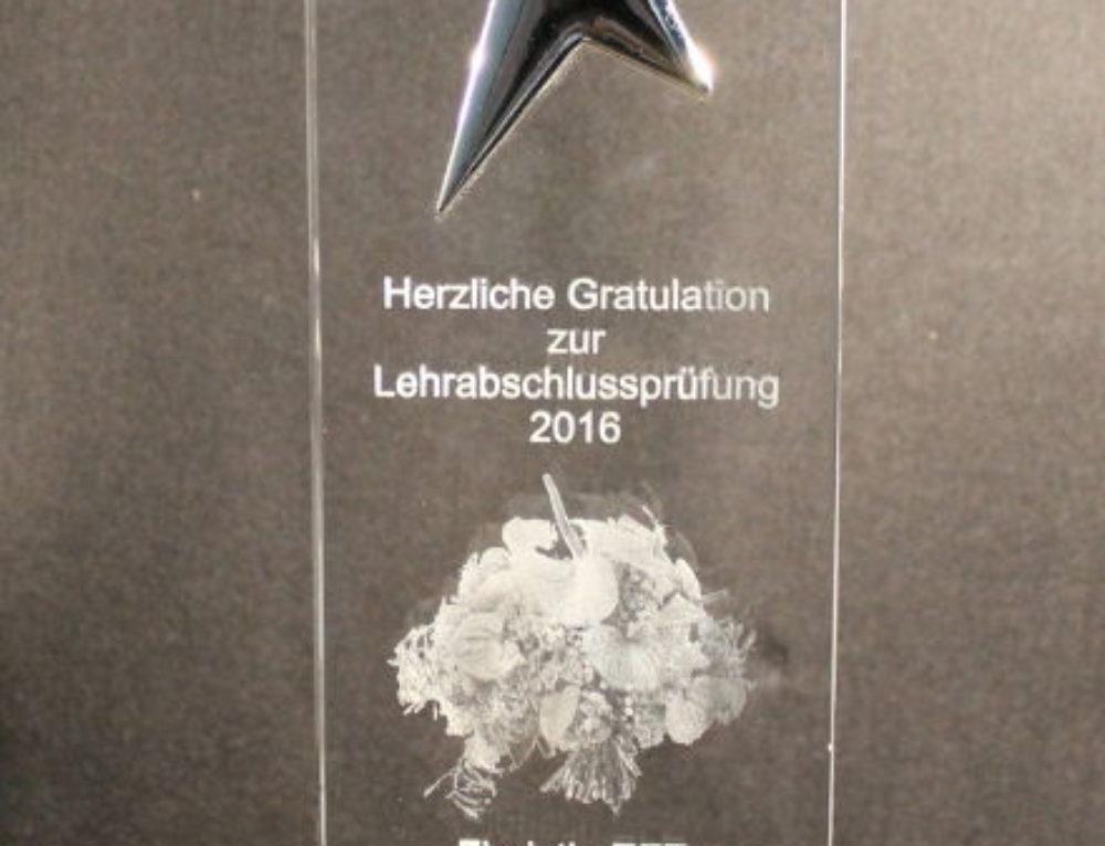Mitarbeiter-Award Schlicht&Einfach-Stern, Glasgravur