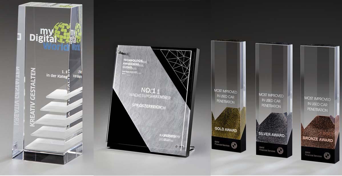 Ehrungspreise, Trophäen, Glas Pokale Neuheiten 2018